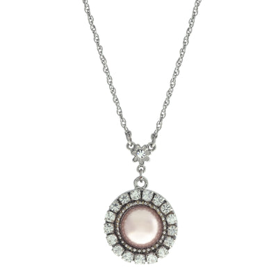 Pink Round Crystal Cultura Pearl Drop Pendant Necklace 16 - 19 Inch Adjustable