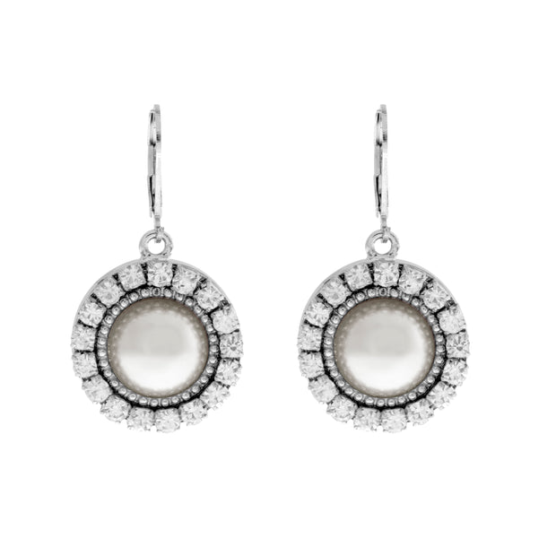Silver Tone Round Crystal Pearl Drop Earrings