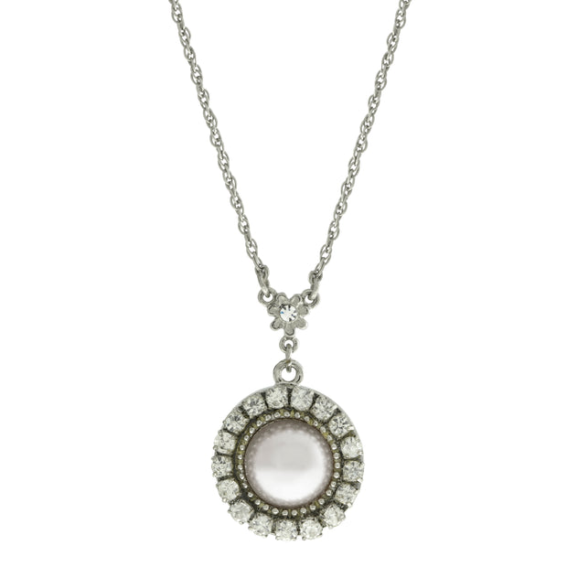 White Round Crystal Cultura Pearl Drop Pendant Necklace 16 - 19 Inch Adjustable
