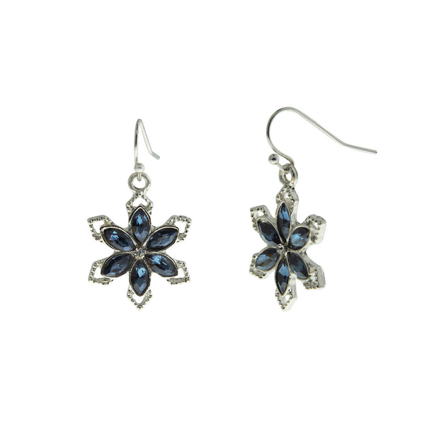 Silver Tone Saphire Blue Color Stone With Crystal Snowflake Earrings