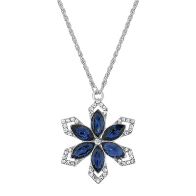 Silver Tone Crystal Sapphire Blue Color Stone Flower Necklace 16 - 19 Inch Adjustable