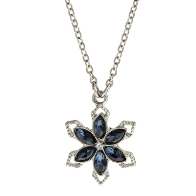Silver Tone Crystal Saphire Blue Color Stone Snowflake Necklace 16   19 Inch Adjustable