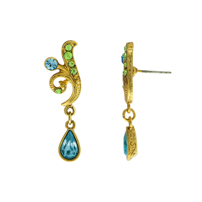 Gold Tone Aqua And Green Drop Earrings