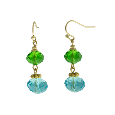 Gold Tone Aqua And Green Bead Drop Earrings