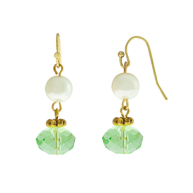 Gold Tone Green Pearl Bead Drop Earrings