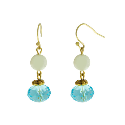 Gold Tone Pearl Aqua Bead Drop Earrings
