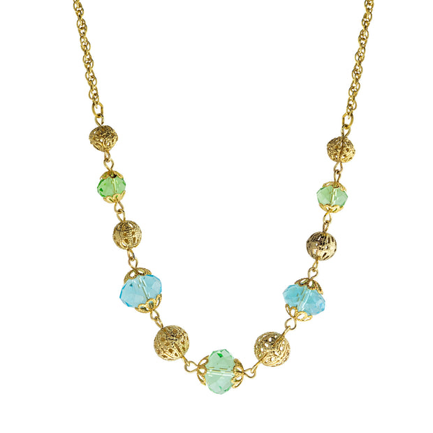 Gold Tone Aqua And Green Beaded Necklace 16 - 19 Inch Adjustable