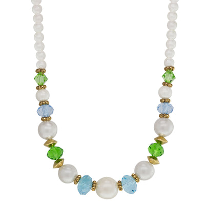 Gold Tone  Aqua And Green Pearl Strandage Necklace 16 - 19 Inch Adjustable