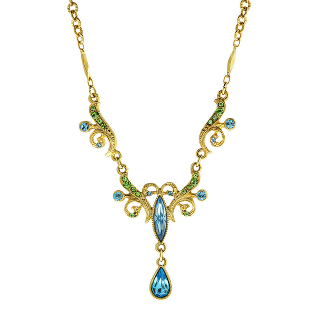 Gold Tone Aqua And Green Teardrop Necklace 16 - 19 Inch Adjustable