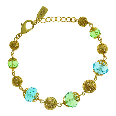 Gold Tone Aqua And Green Beaded Bracelet Adjustable