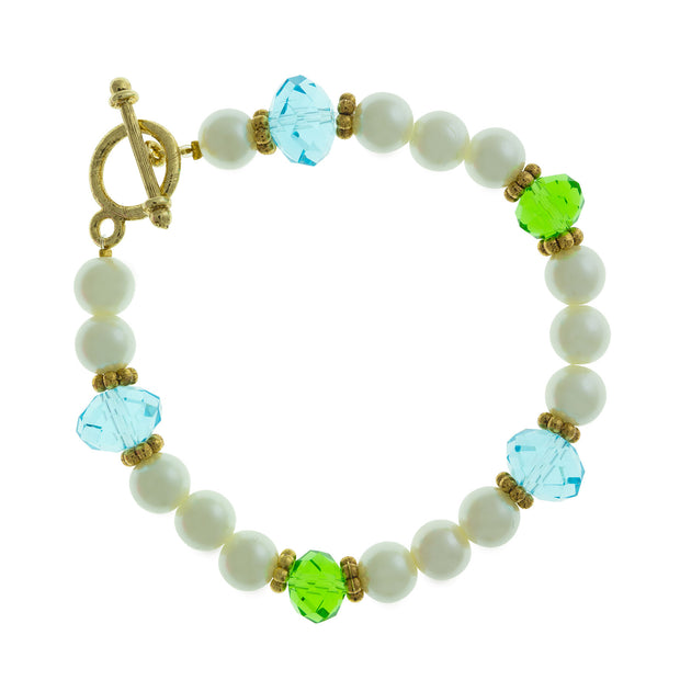 Gold Tone Pearl  Aqua And Green Bead Toggle Bracelet