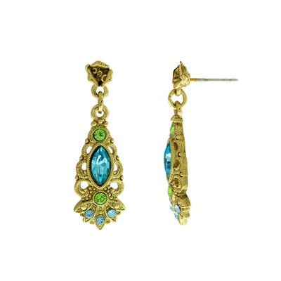 Gold Tone Aqua And Green Crystal Drop Earrings