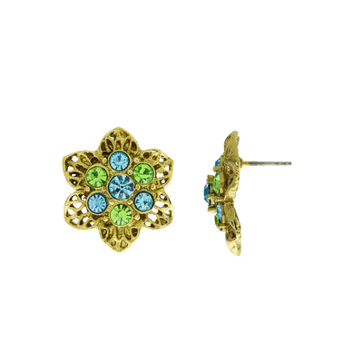 Gold Tone Aqua and Green Crystals Flower Stud Earrings