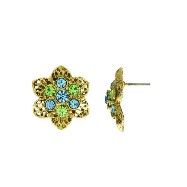 Gold Tone Aqua und Green Crystals Flower Ohrstecker