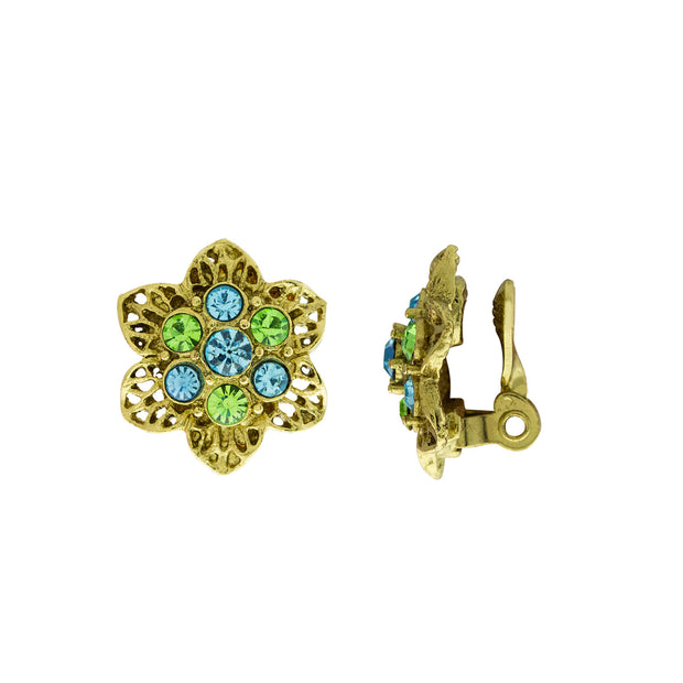 Gold Tone Aqua and Green Crystals Flower Clip Earrings