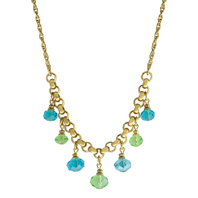 Gold Tone Aqua and Green 7 Bead Station Necklace 16 - 19 Inch Adjustable