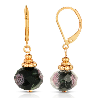 Gold Tone Black Bead Pink Flower Motif Earrings