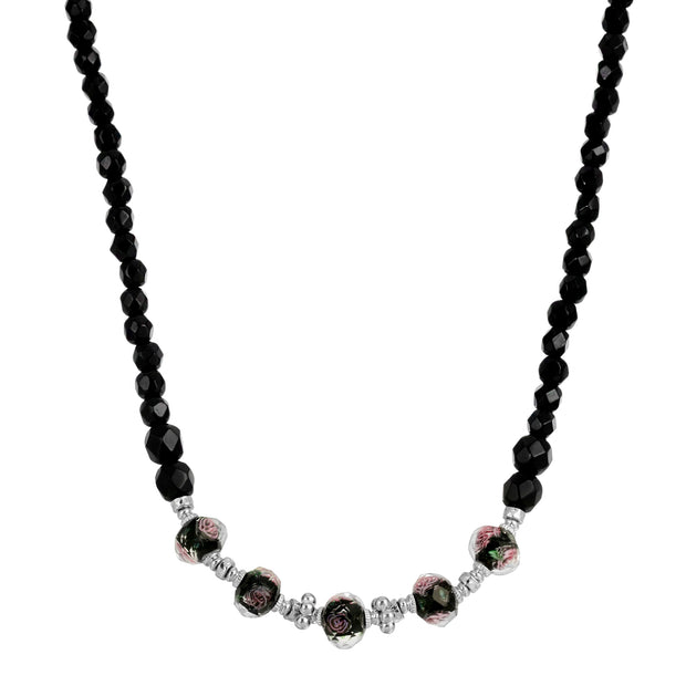 Silver Tone Black Floral Beaded Necklace 15 - 18 Inch Adjustable
