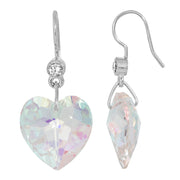 Silver Tone Austrian Crystal Glass Heart Wire Earrings