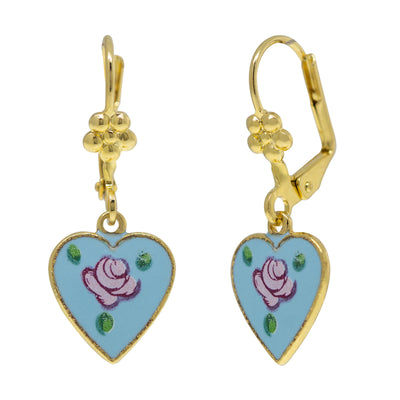 14K Gold Tone Dipped Blue Enamel Petite Heart Drop Earrings