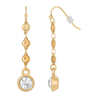 14K Gold Dipped Happy Face Chain Crystal Linear Drop Earring