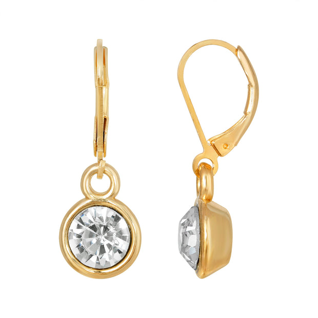 Gold Tone Round Clear Crystal Drop Earrings