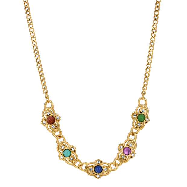 14K Gold Dipped Multi Color Collar Necklace 15 - 18 Inches Adjustable