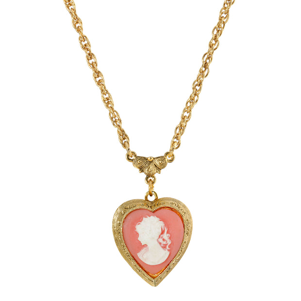 Jewelry 14k Gold Dipped Heart Cameo Locket Necklace 16 - 22 inch Adjustable