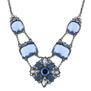 Black Tone Blue Crystal Drop Neck 16   19 Inch Adjustable