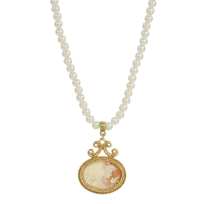 1928 Jewelry Pearl Strandage 14K Gold Dipped Oval Drop Cameo Necklace 15 - 18 Inch Adjustable