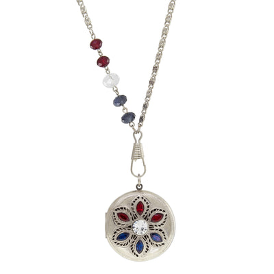 Silver Tone Red White And Blue Locket Necklace 28 Inch