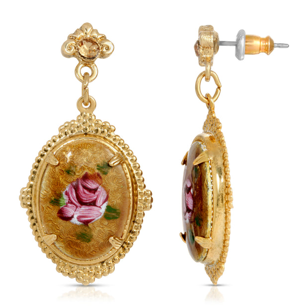 1928 Jewelry Oval Flower Stone With Swarovski Crystal Elements Earrings