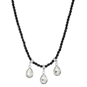 Black Bead Silver Tone Small Crystal Teardrop Necklace 15 - 18 Inch Adjustable