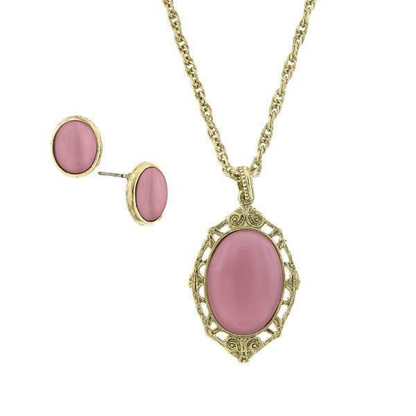 Gold Tone Pink Earring And Oval Pendant Necklace 16   19 Inch Adjustable Carded Set