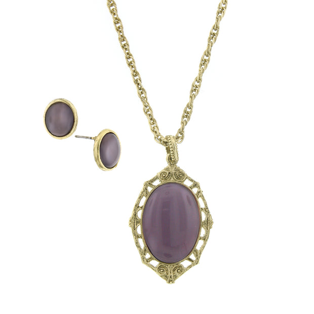 Purple Gold-Tone Earring And Oval Pendant Necklace Carded Set 16 - 19 Inch Adjustable