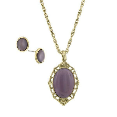 Gold-Tone Amethyst Earring And Oval Pendant Necklace 16 - 19 Inch Adjustable Carded Set