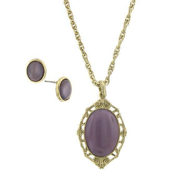 Gold-Tone Amethyst Earring and Oval Pendant Necklace 16 Adj. Carded Set
