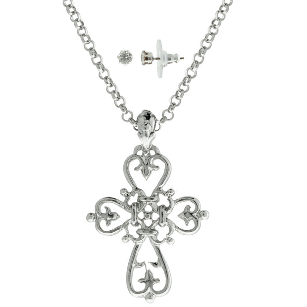 Silver Tone Cross Necklace 18  And Stud Earring Set