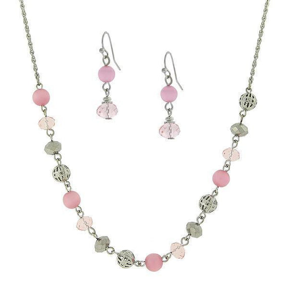 Silver Tone Rose and Pink Cats Eye Ear and Neck 16 Adj.Carded Set