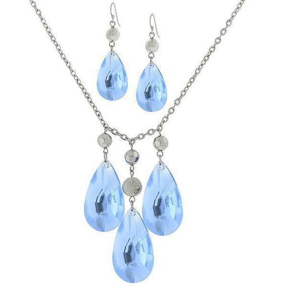 Silver Tone Light Blue Briolette Drop Earring and Necklace Set 16 Adj Carded Set