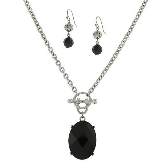 Silver Tone Black Oval 16 Adj Neck and Earring Carded Set