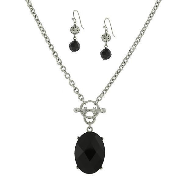 Silver Tone Black Oval 16 - 19 Inch Adjustable Neck And Earring Carded Set