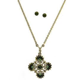 Fashion Jewelry - Gold-Tone Olivine Color Crystal Floral Necklace & Earrings Set