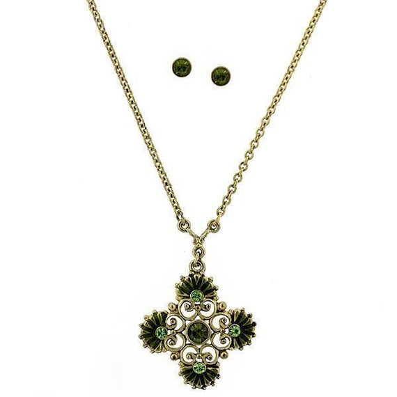 Gold-Tone Olivine Color Crystal Floral Necklace & Earrings Set