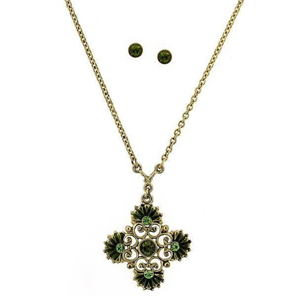 Brass/Olivine Cross Necklace And Earrings Carded Set