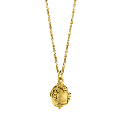 Gold Tone Egg Pendant Necklace 16 In Adj