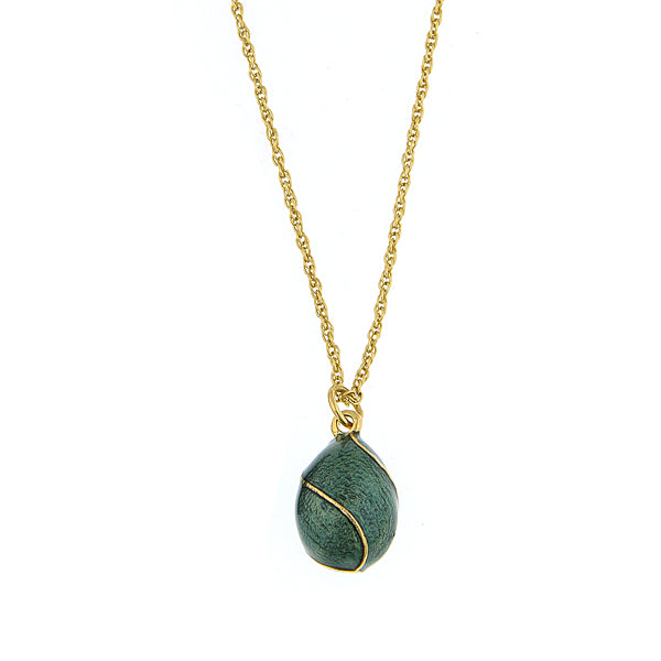 Gold Tone Green Egg Pendant Necklace 24 In