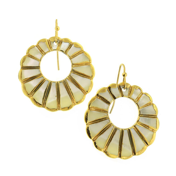 Gold with MOP Round Drop Wire Earrings
