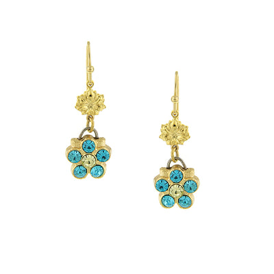 14K Gold Dipped Turquoise Crystal Color Flower Drop Earrings