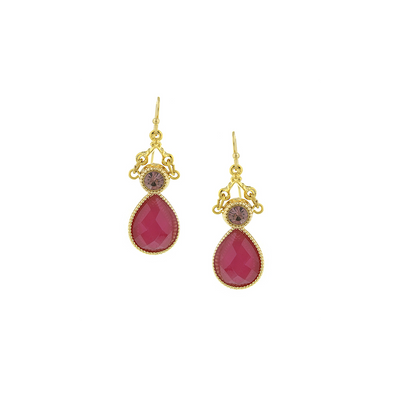 Gold Tone Fuchsia Teardrop Earrings